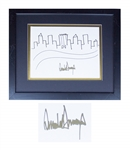 Donald Trump Signed Drawing of the New York City Skyline -- Rare Original Artwork by the President