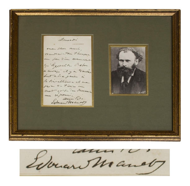 Edouard Manet Autograph Letter Signed -- Manet Asks a Favor for a Friend, ''...Would you occupy yourself a bit regarding a manuscript...''