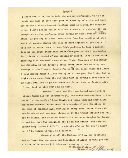 Elijah Muhammad Letter Signed From 1947 Shortly After Prison -- With Excellent Content on Early Nation of Islam -- ''...such has been going on quite awhile, even when we were in prison...''