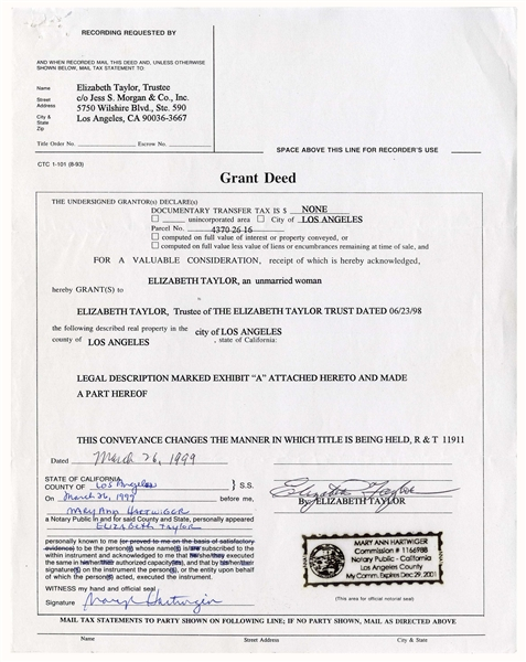 Elizabeth Taylor Signed Deed for her Los Angeles Home -- With PSA/DNA COA