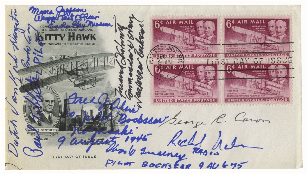 Enola Gay & Bocks Car Signed First Day Cover -- Signed by 8 of the Crewmen Who Flew the Missions During WWII