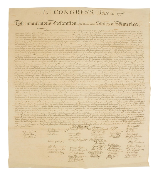 1843 Force Declaration of Independence From Original Copper Plate -- Near Fine Condition