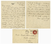 Franklin D. Roosevelt Autograph Letter Signed to His Son, FDR Jr. -- Also With Handwritten Envelope Signed -- ...I am off...to preach a sermon in the Church this evening!...