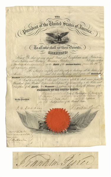 Franklin Pierce Document Signed as President -- Military Appointment
