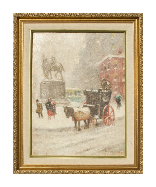 Guy Carleton Wiggins Painting of New York City in Winter Guy Wiggins Original Art