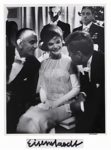 Alfred Eisenstaedt Signed 11'' x 14'' Photograph of John F. Kennedy, Jackie Kennedy & Lyndon Johnson -- From the 1961 Inaugural Ball