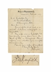 James Garfield Letter Signed as U.S. Congressman -- ...Please inform me whether you are of the same family...