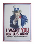 The Most Famous American Artwork, the Original I Want You World War I Recruitment Poster by James Montgomery Flagg