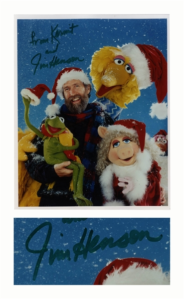 Jim Henson 8'' x 10'' Signed Photo ''From Kermit'' With His Muppets at Christmas