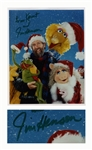 Jim Henson 8 x 10 Signed Photo From Kermit With His Muppets at Christmas