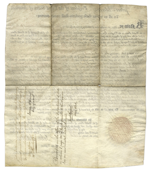 John Adams Document Signed as President -- Land Grant for Military Service in the Revolutionary War
