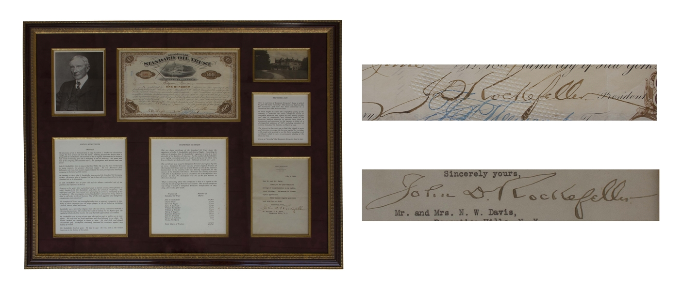 John D. Rockefeller Letter Signed & Signed Stock Certificate for Standard Oil -- Stock Issued to Benjamin Brewster, One of the Original Trustees of Standard Oil