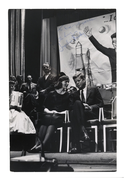 John F. Kennedy & Jackie Kennedy Signed Photo Measuring 9'' x 13.25'' -- Also Signed by Photographer, Alfred Eisenstaedt