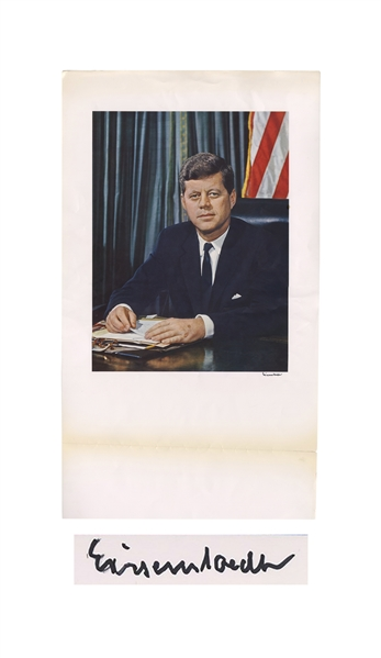 Large Official Portrait of John F. Kennedy, Signed by Photographer Alfred Eisenstaedt -- Measures 14'' x 24''