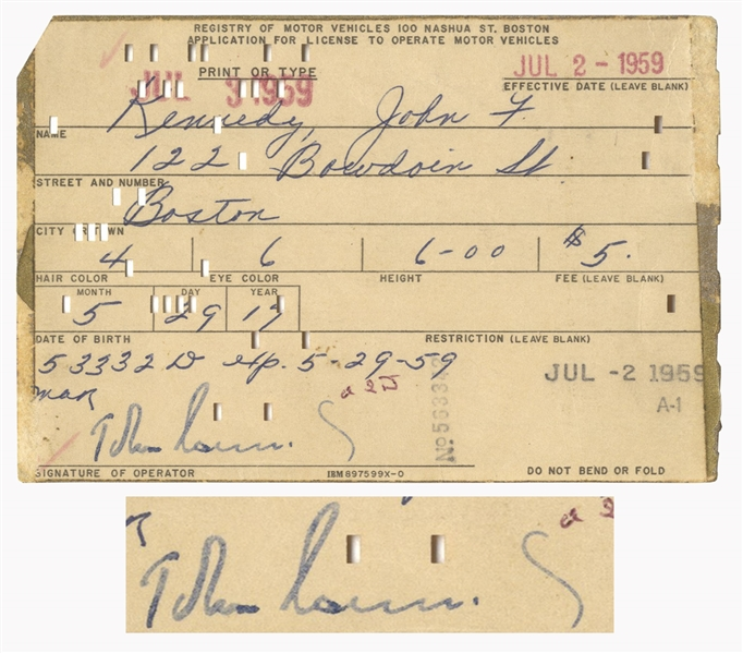 John F. Kennedy Signed Driver's License Application