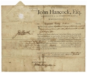 John Hancock Document Signed as Governor of Massachusetts -- Hancock Appoints a Captain to the Militia