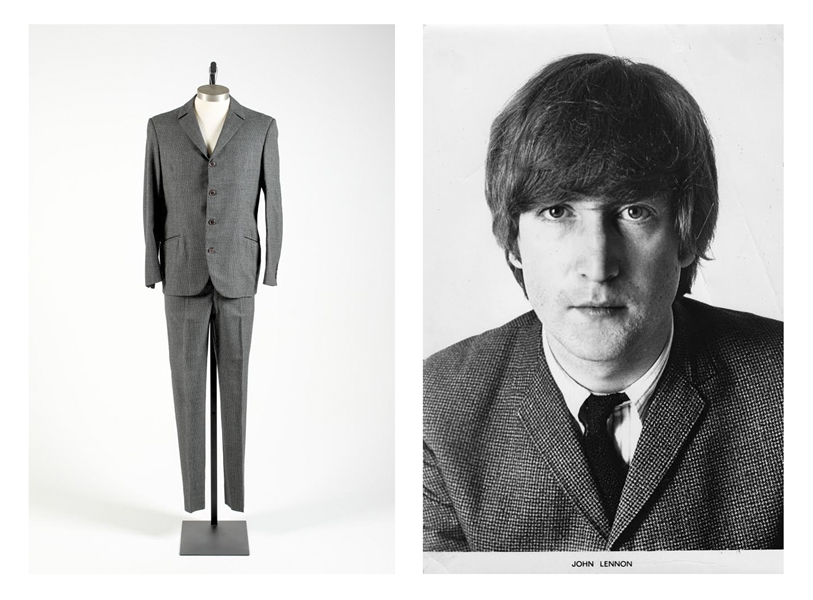 John Lennon Suit Worn During the Mid-1960s With The Beatles -- With Two D.A. Millings & Son Labels, a Photo of John & COA From Madame Tussauds, Where It Was Displayed