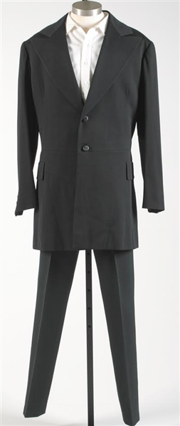 Johnny Cash Stage-Worn Outfit With His Distinctive Long Black Coat, Black Pants, Black Leather Boots & White Shirt -- With Two COAs From Bill Miller