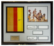 Lakers Limited Edition Piece of Court From the Forum -- Framed With Signatures of Kareem Abdul-Jabbar, Wilt Chamberlain, Magic Johnson, Elgin Baylor & Jerry West -- With Lakers LOA