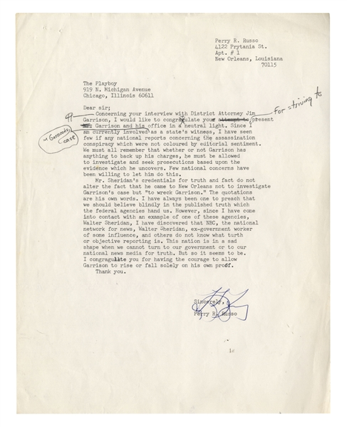 Marguerite Oswald Letters Signed Regarding the JFK Assassination: ''...President John F. Kennedy and my son Lee Harvey Oswald were of one mind...they were both murdered for the same reasons...''