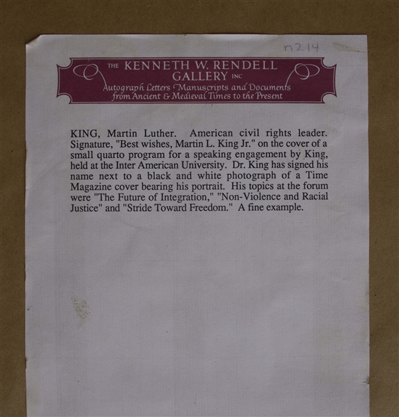 Martin Luther King, Jr. Signed Program, ''Toward a World of Understanding''
