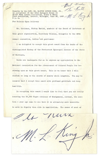 Martin Luther King Signed Speech Accepting the NAACP 1957 Spingarn Medal for the Montgomery Bus Boycott -- ''...it is ultimately more honorable to walk in dignity than ride in humiliation...''