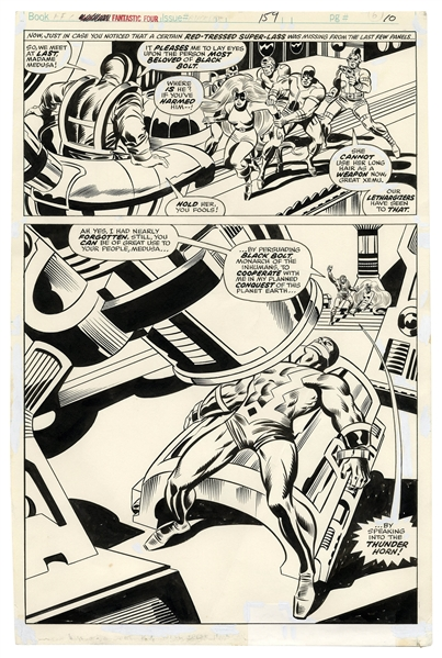 ''Fantastic Four'' Original Art by Rick Buckler From 1975 -- Xemu Tries to Enlist Medusa to Turn Against Black Bolt