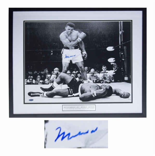 Muhammad Ali Photo Signed of His Fight With Sonny Liston to Retain His Heavyweight Championship -- Measures 20'' x 16'' -- With Steiner COA