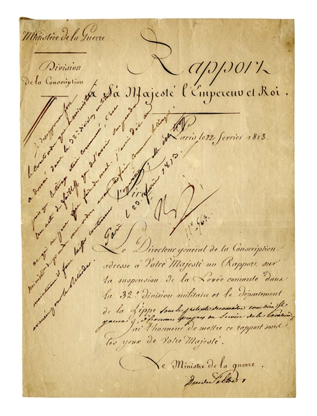 Napoleon Document Signed From 1813 as Emperor -- Upon a Report by the Minister of War
