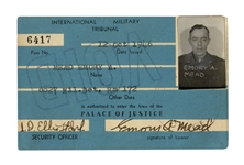 Nuremberg Trials Pass for The Palace of Justice -- Rare Soldiers Pass Issued to U.S. Lt. Colonel Emory Mead, Who Guarded the War Criminals