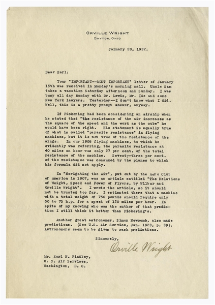 Orville Wright Letter Signed Regarding the 1908 Flyer & a Harvard Astronomer's Prediction That Planes Would Never Supplant Cars -- ''...Astronomers seem to be given to rash predictions...''