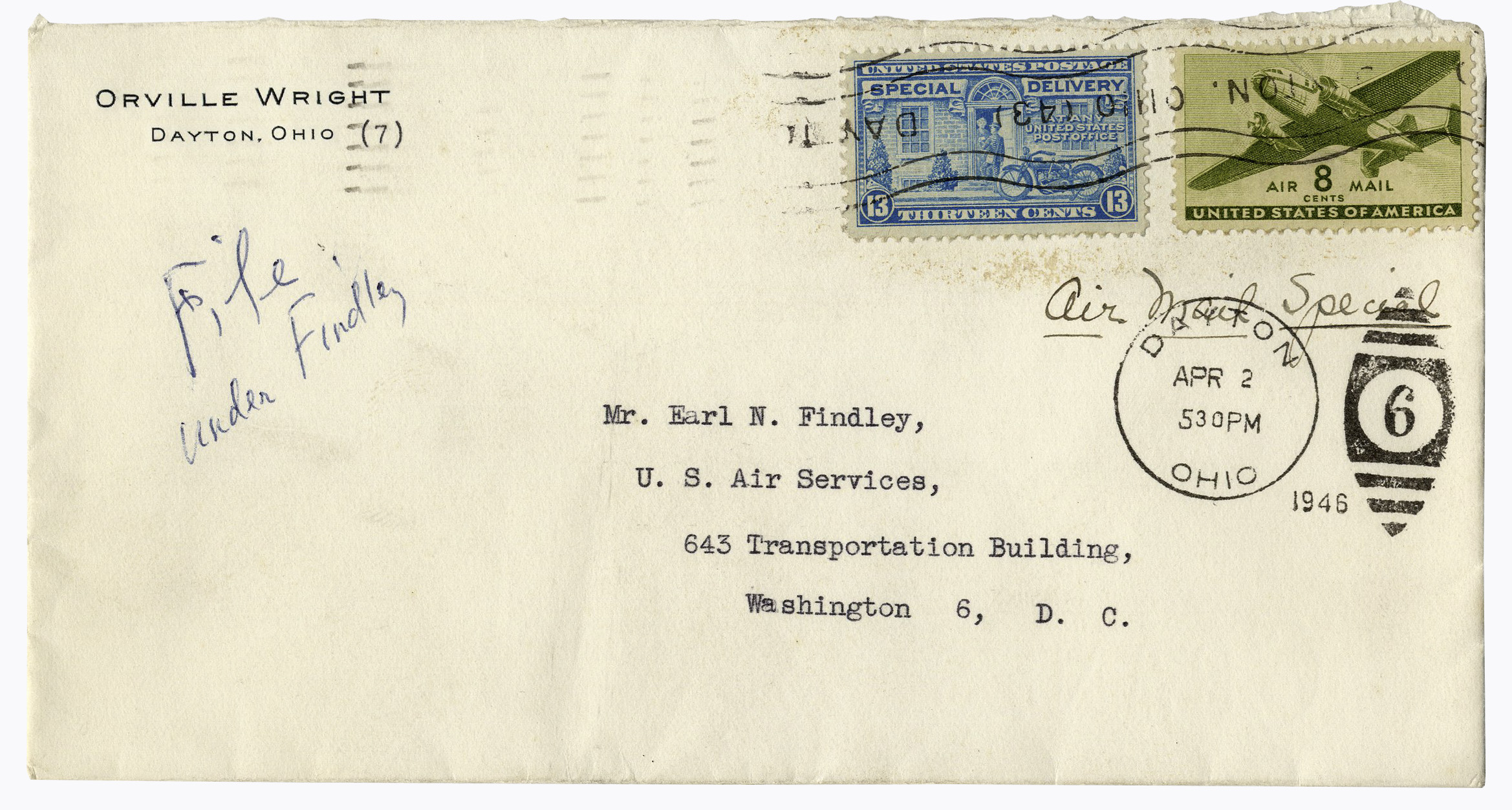 First Flight Kitty Hawk 1903 for lot detail - orville wright letter signed regarding the permanent