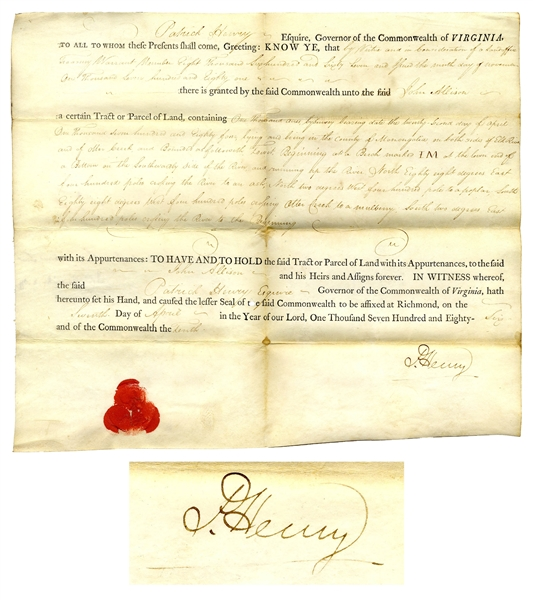 Patrick Henry Virginia Land Grant Signed as Governor of Virginia