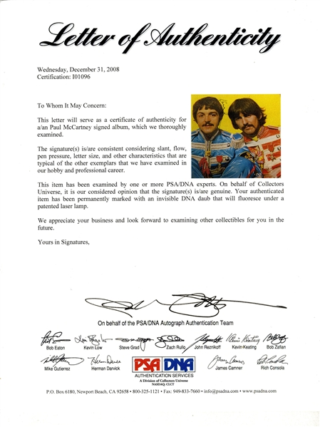 Paul McCartney Signed ''Sgt. Pepper's Lonely Hearts Club Band'' Album -- With PSA/DNA COA