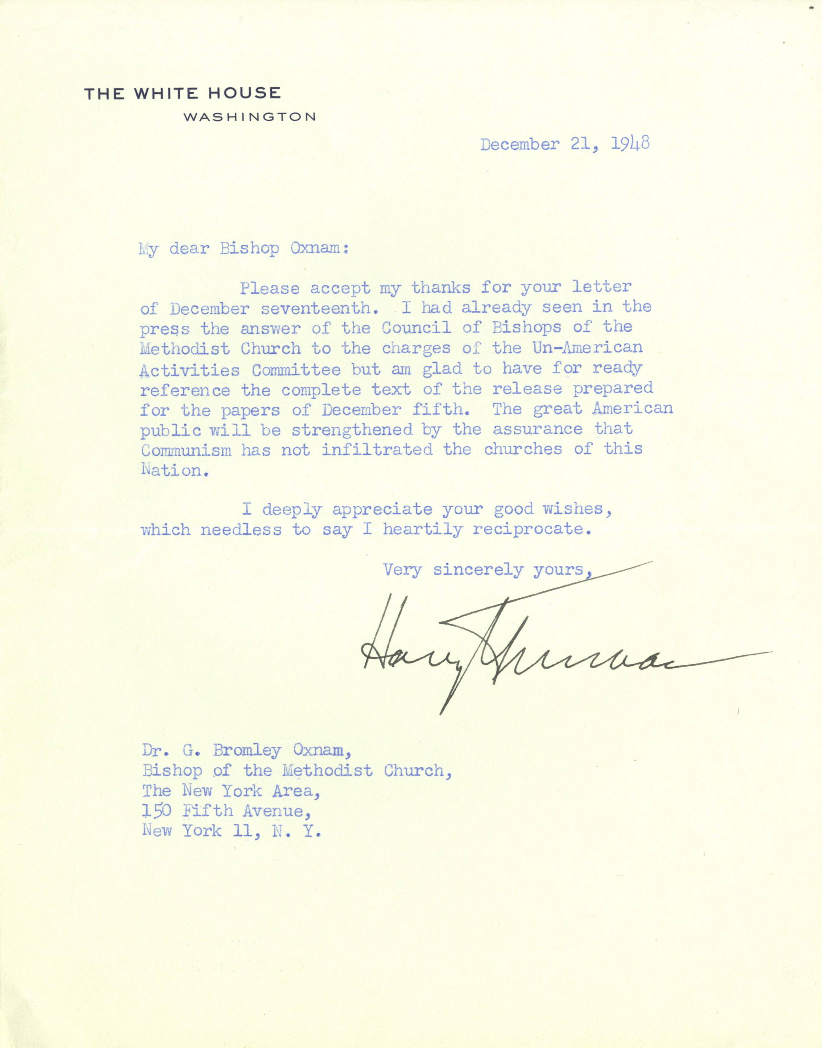 letter to truman 1946 letter to us president truman, january 18, 1946 january 18, 1946 there follows substance of letter dated jan 18, 1946 addressed to president truman by ho chi-minh just received by embassy through us army channels: he extends congratulations to president on occasion of opening of first assembly of united nations in london, and.