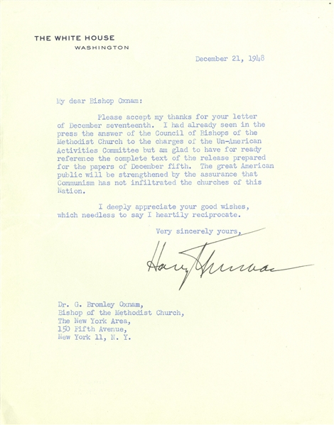 Harry Truman Letter Signed as President With Rare Communist Content -- ''...to the charges of the Un-American Activities Committee...communism has not infiltrated the churches of this Nation...''