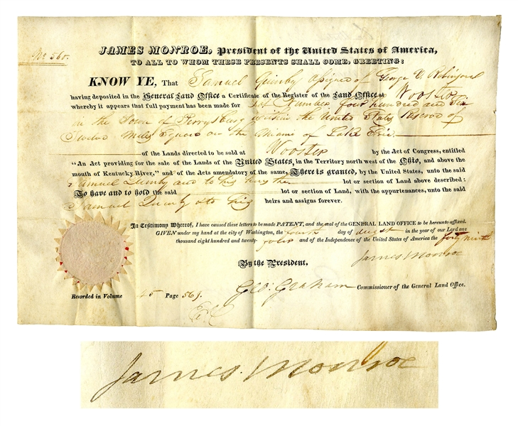 James Monroe Land Grant Signed for Property in Perrysville, Ohio Along the Erie River