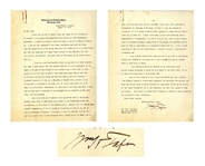 William Taft Letter Signed as Supreme Court Chief Justice -- Taft Talks Politics & Taxes: ...I dont want to complain, but this year...present income tax law will make me pay very heavily...