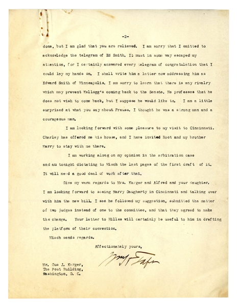William Taft Letter Signed as Supreme Court Chief Justice -- Taft Talks Politics & Taxes: ''...I don't want to complain, but this year...present income tax law will make me pay very heavily...''