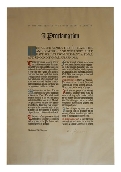 Exceptionally Rare Harry Truman WWII Victory Proclamation Signed as President -- Gifted to White House Staff in 1945 -- in Seldom-Encountered Near Fine Condition