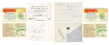 Queen Signed Invitation for a Party at the British Embassy in Budapest During Their 1986 Concert Tour -- Twice-Signed by Freddie Mercury -- With Roger Epperson COA