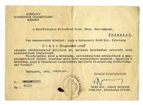 Raoul Wallenberg Signed Document From 1944, Exempting a Jewish Person From Having to Wear the Star of David -- Very Rare