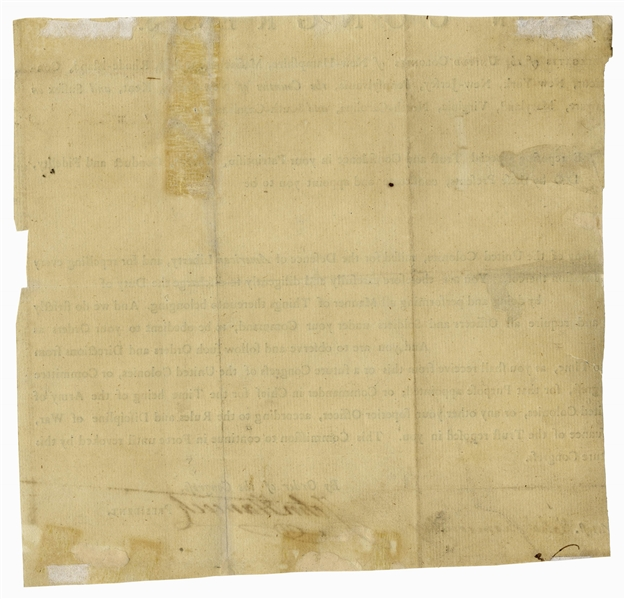 John Hancock Partial Document Signed as President of the Continental Congress, Circa 1776 -- Hancock Commissions a Soldier into the Revolutionary War