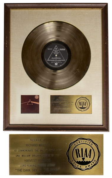 Pink Floyd RIAA Platinum Award for ''The Dark Side of the Moon'' Personally Owned by Founding Member Richard Wright -- With LOA From Franka Wright