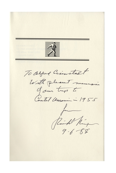 Alfred Eisenstaedt Signed Photo of Vice President Richard Nixon During His 1955 Trip to Central America -- Also With a Slide of Nixon by Eisenstaedt & a Nixon Signed Book