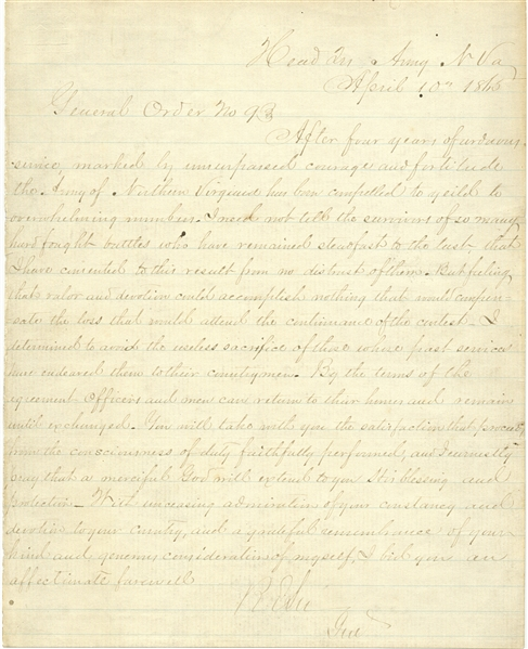 Robert E. Lee Signed General Order No. 9, Bidding Farewell to His Army -- Signed With His Rank of ''Genl'', Indicating an Appomattox Copy