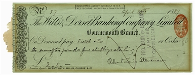 Robert Louis Stevenson Signed Check -- From 1887, Shortly After He Published Strange Case of Dr Jekyll and Mr Hyde