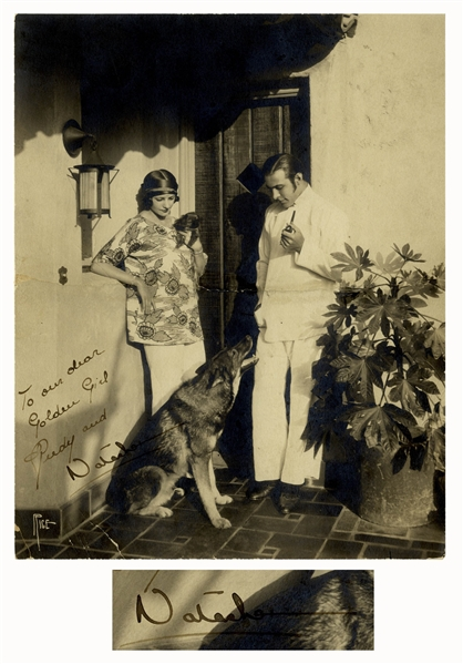 Rudolph Valentino Signed Photo -- ''To our dear Golden Girl''