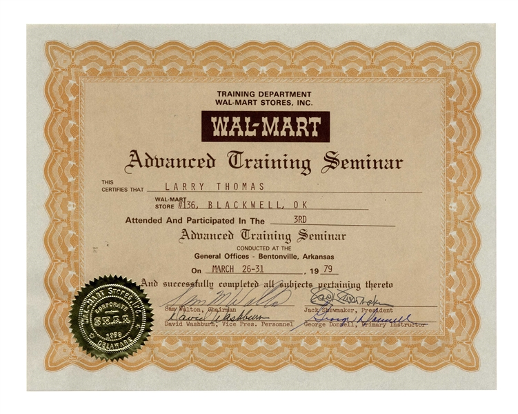 Sam Walton Signed Walmart Document From 1979