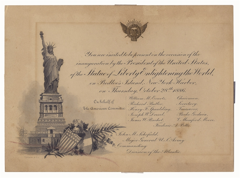 1886 Statue of Liberty Inauguration Invitation, Designed by Tiffany & Co. -- ''Enlightening The World''